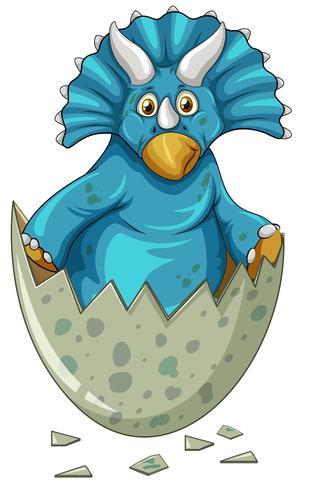 Dinosauro blu nell'uovo grigio