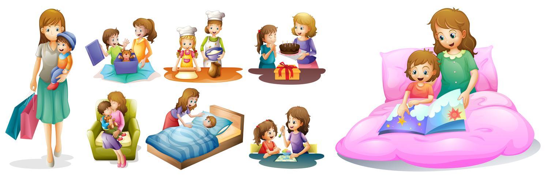 Mor och barn i olika handlingar