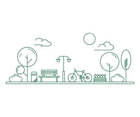 Parco cittadino e panca in legno. Illustrazione di stile di linea sottile. Parco pubblico urbano verde.