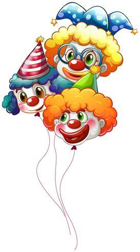 Tre färgglada clownballonger