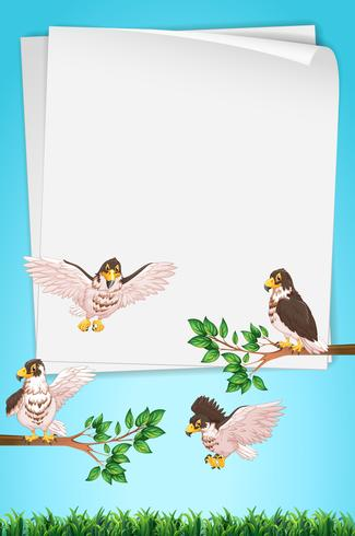 Paper template with eagles in background