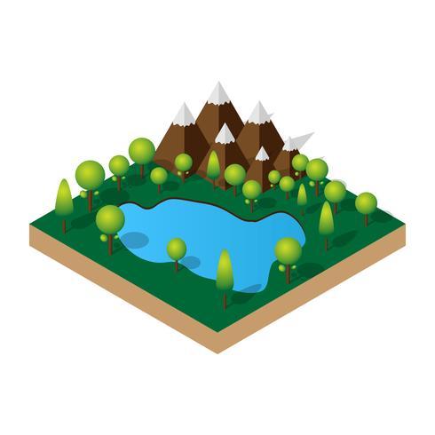 Ejemplo isométrico 3d del lago de la montaña en el bosque. Ocio al aire libre.