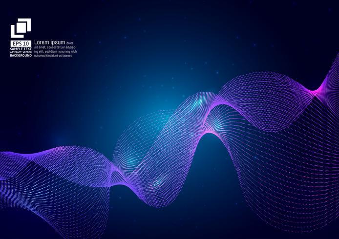 Partícula de ondas de cor roxa sobre fundo azul, design moderno de vetor abstrato, ilustração vetorial