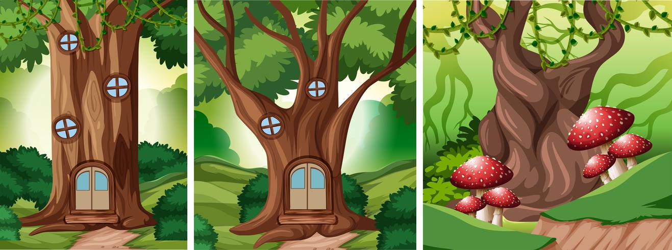 Set of fairy tale forest background vector