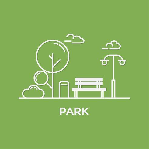 vlakke minimale stijl met bank en bomen op centrale parkachtergrond. Denk groen en ecologisch. Wereld Milieu Dag.