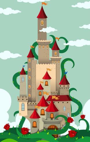 Tours de château avec des plantes épineuses