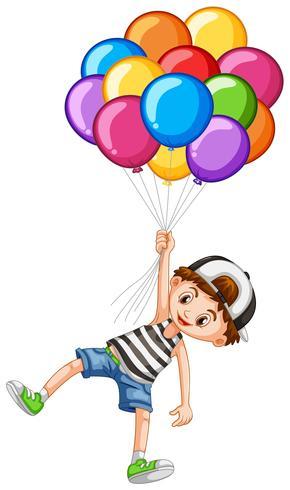 Söt pojke och en massa ballonger