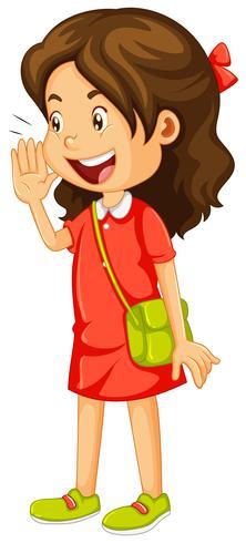 Little girl in red dress shouting