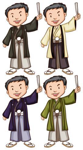 Enkla skisser av män från Asien