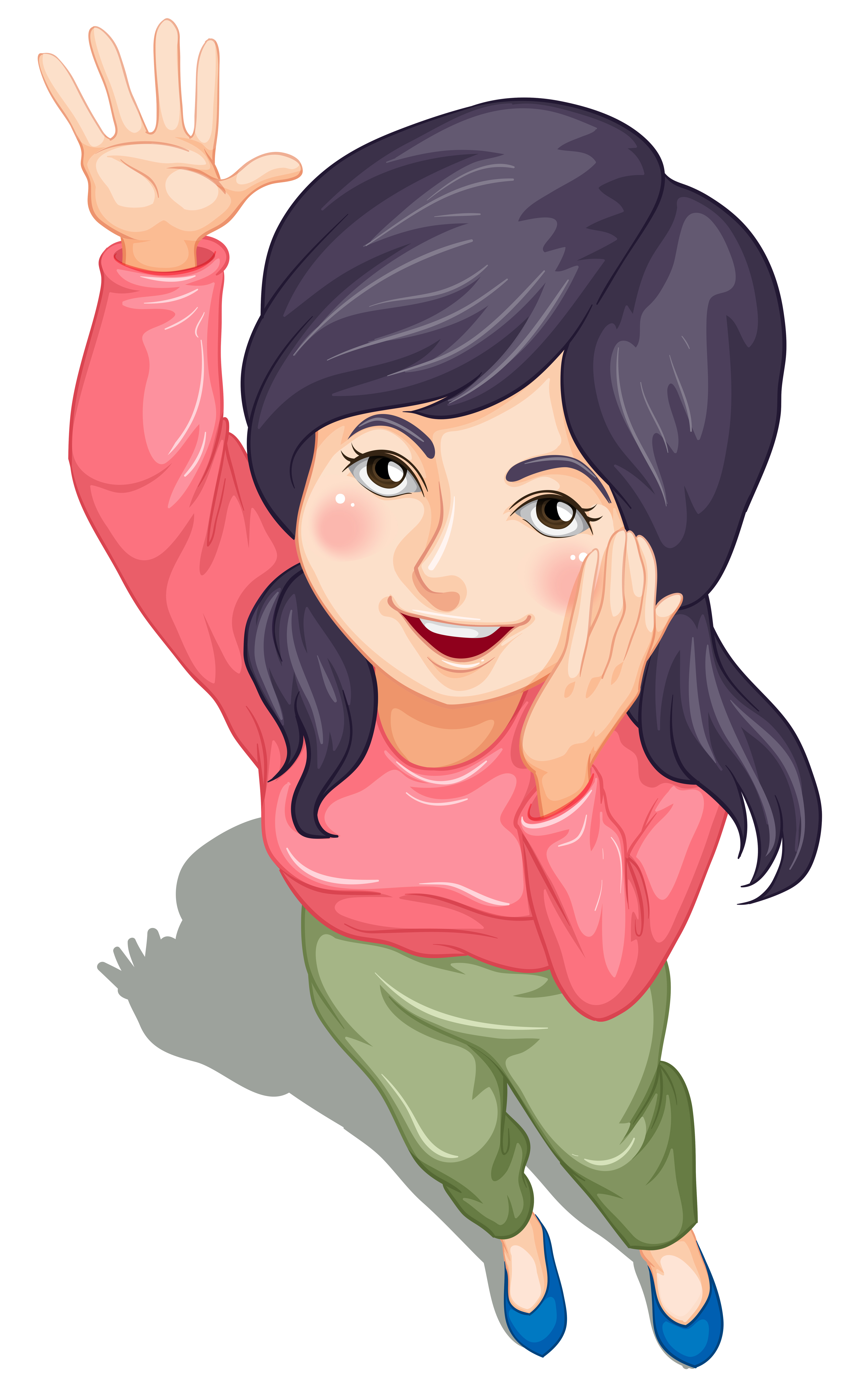 A Topview Of A Young Girl Waving Download Free Vectors