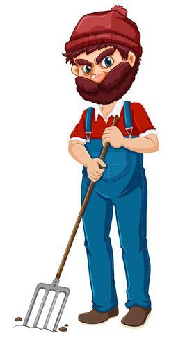 Un contadino con il forcone