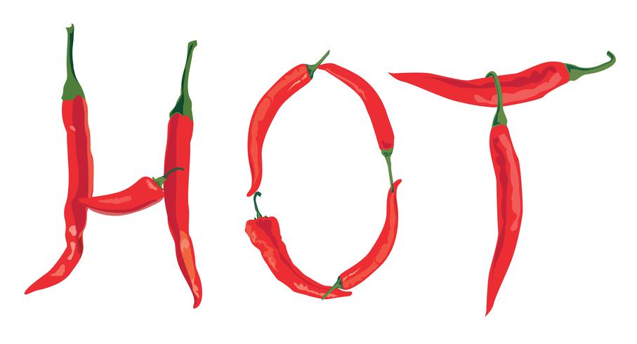 hot chilly pepper over white background with lettering HOT
