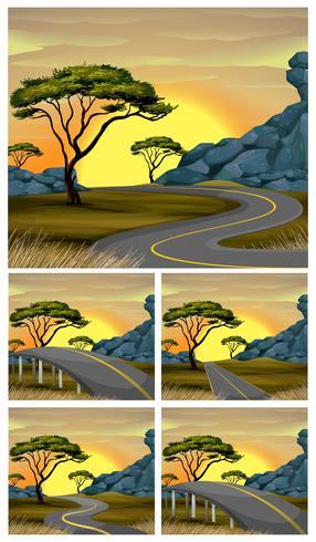Scènes van de weg naar het platteland bij zonsondergang