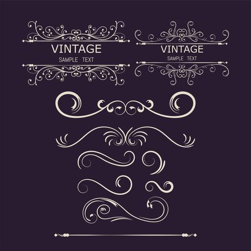 Vintage Decorations Elements. Flourishes Calligraphic Ornaments and Frames.vector illustration