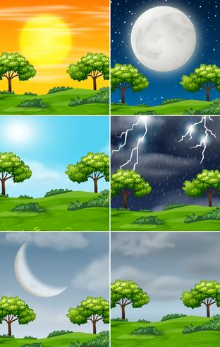 Set of nature in different weather