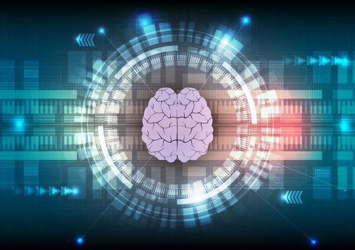Digital technology and brain abstract background. Vector illustration