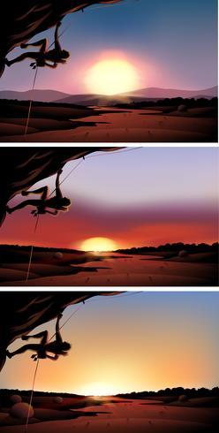 Scène met bergbeklimmer bij zonsondergang