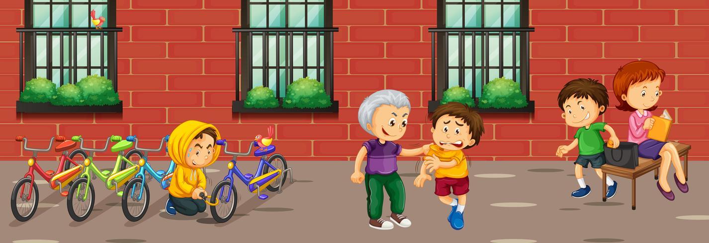 Szene mit Kindern, die verschiedene Verbrechen begehen