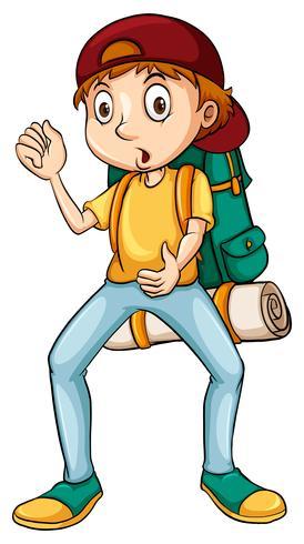 Homem, carregando uma mochila