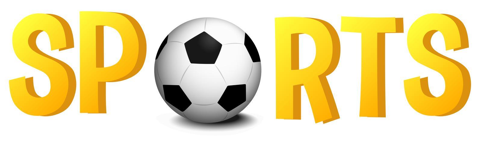 Diseño de fuente con palabra deportes con balón de fútbol.