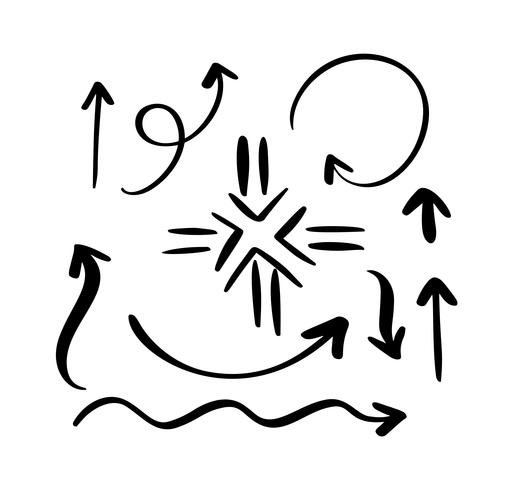 Ensemble de différentes flèches décoratives dessinées à la main. Illustration vectorielle de style de croquis. Élément de flèche dessiné avec un pinceau. Flèche de courbe ligne Doodle isolé pour infographie et icône de l'entreprise vecteur