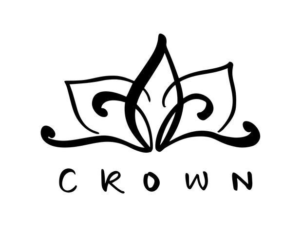 Dé el símbolo exhausto de una corona estilizada del icono y de la palabra caligráfica corona. Ilustración del vector aislada en blanco. Diseño de logo