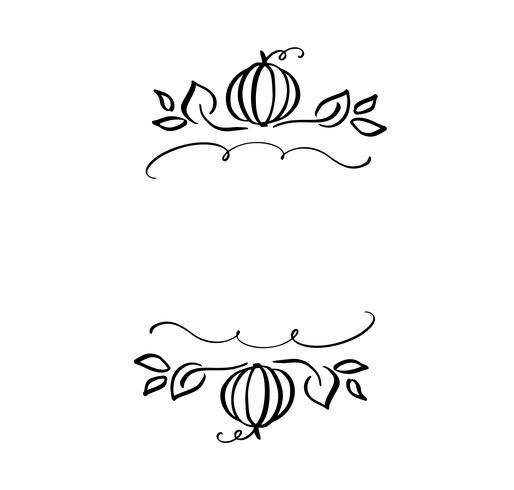 Herbstvektorillustrationsblätter und Kürbisgrenzrahmen mit Raum simsen Hintergrund. Schwarze Bürstengekritzelskizze mit Kürbissen für Erntedankfest