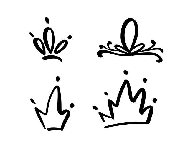 Satz des Hand gezeichneten Symbols einer stilisierten Krone. Mit schwarzer Tinte und Pinsel gezeichnet. Vektorabbildung getrennt auf Weiß. Logo Design. Grunge Pinselstrich