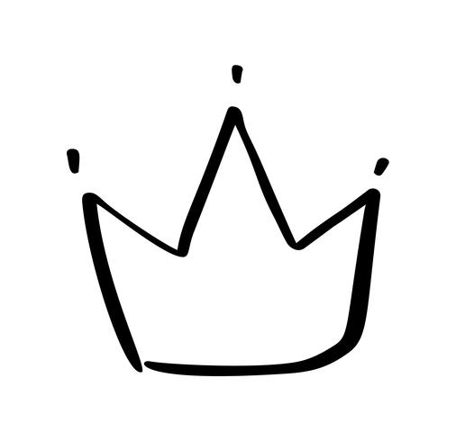 Hand drawn symbol of a stylized crown. Drawn with a black ink and brush. Vector illustration isolated on white. Logo design. Grunge brush stroke