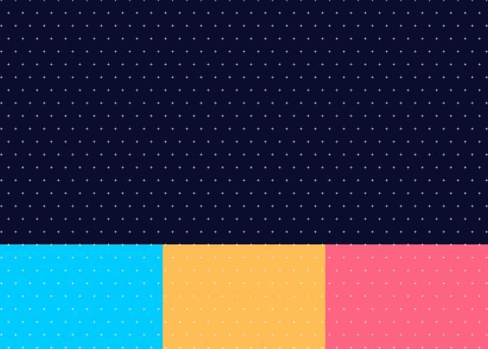 Set med abstrakt kors eller plus mönster sömlös blå, gul, rosa färg bakgrund minimal stil
