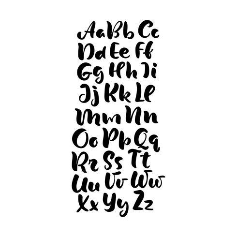 hand bokstäver alfabet design, handskriven pensel skript modern kalligrafi kursiv svart och vitt typsnitt vektor illustration