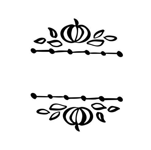Illustration vectorielle automne laisse cadre frontière avec fond de texte de l'espace. Croquis de griffonnage au pinceau noir avec des gourdes pour les vacances de Thanksgiving