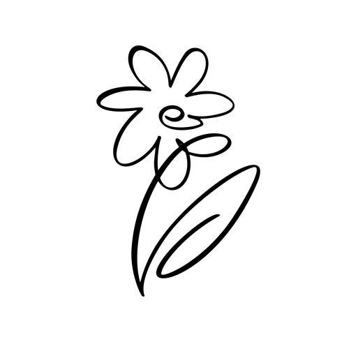 Flor de pincel de vector. Día de San Valentín icono dibujado a mano. Día de fiesta del bosquejo del diseño del elemento de la planta San Valentín Decoración de amor para web, bodas y estampados. Ilustración aislada