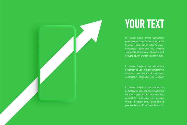 Grüne Matt-Smartphoneschablone, Vektorillustration