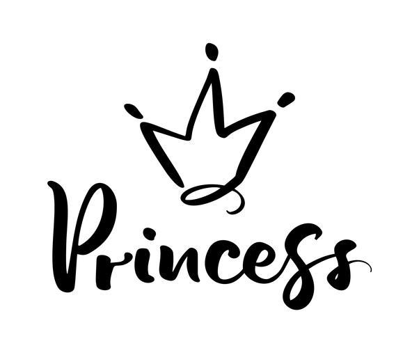Simbolo disegnato a mano di una corona stilizzata e parola calligrafica principessa. Illustrazione vettoriale isolato su bianco. Design del logo