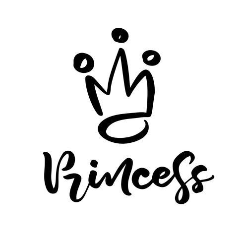 Hand getrokken symbool van een gestileerde kroon en kalligrafische woordprinses. Vectorillustratie geïsoleerd op wit. Logo ontwerp