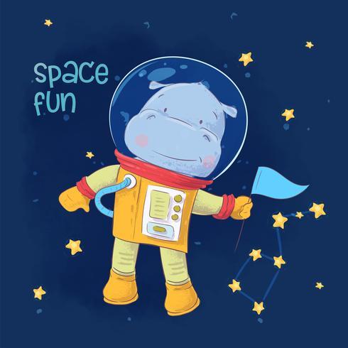 Postkartenplakat des netten Astronautenflusspferds im Raum mit Konstellationen und Sternen in der Karikaturart. Handzeichnung.