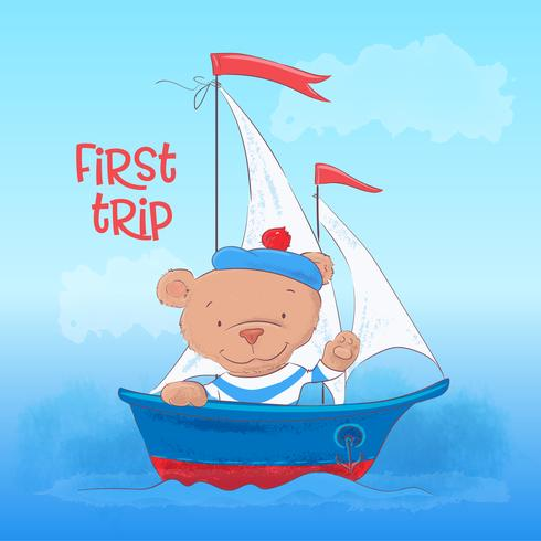 Postcard poster of a cute young bear on a steamboat in a cartoon style. Hand drawing. vector