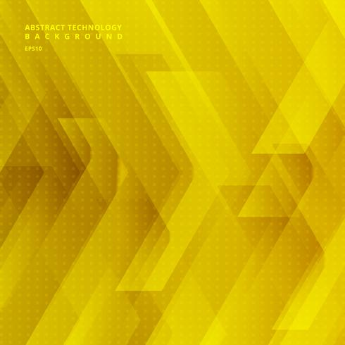 Abstract yellow tech diagonal geometric background with big arrows sign digital and stripes technology concept. Space for your text. vector