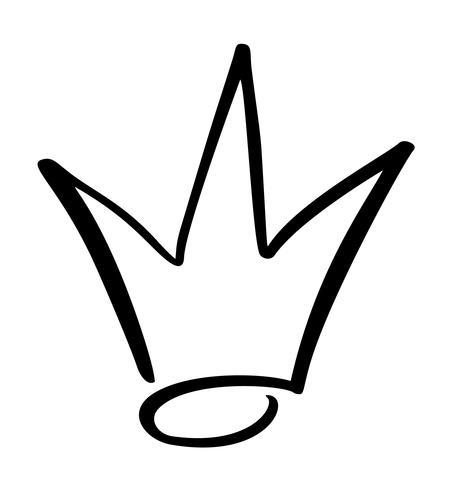 Dibujado a mano símbolo de una corona estilizada. Dibujado con tinta negra y pincel. Ilustración del vector aislada en blanco. Diseño de logo. Pincelada de grunge