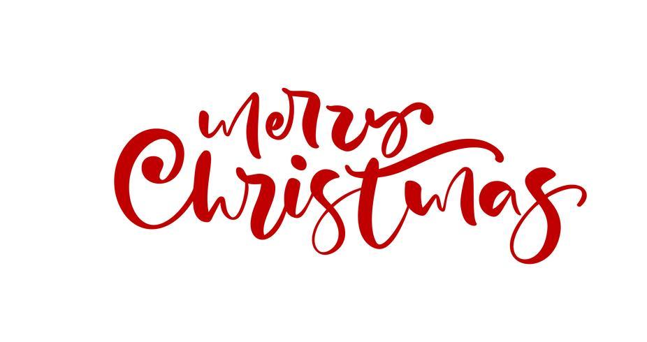 Mão caligráfica de feliz Natal vermelha desenhada letras de texto. Caligrafia do Xmas da ilustração do vetor no fundo branco. Elemento isolado para cartão postal de bandeira, cartão de saudação de design de cartaz