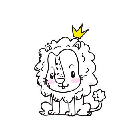 cute little tiger cartoon doodle vector