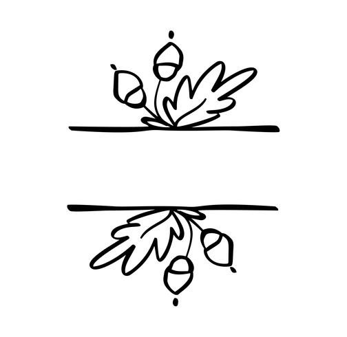 Autumn vector illustration leaves border frame with space text background. Black brush doodle sketch with gourds for thanksgiving day holiday
