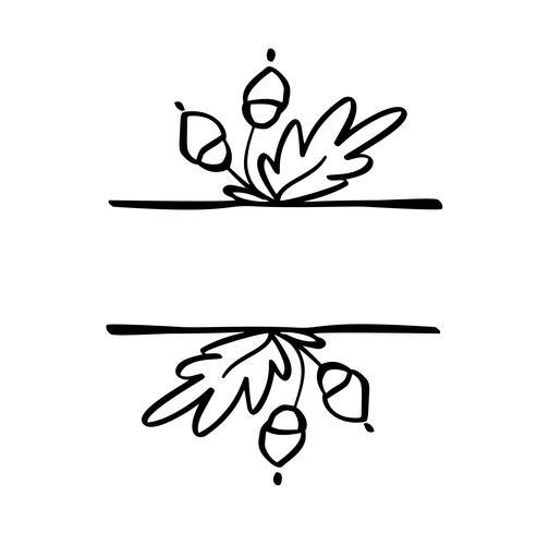 Herbstvektorillustration lässt Grenzrahmen mit Raumtexthintergrund. Schwarze Bürstengekritzelskizze mit Kürbissen für Erntedankfest