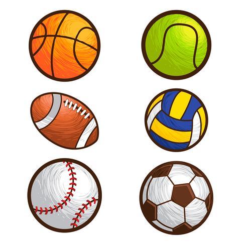 conjunto de ilustração vetorial de bola esporte