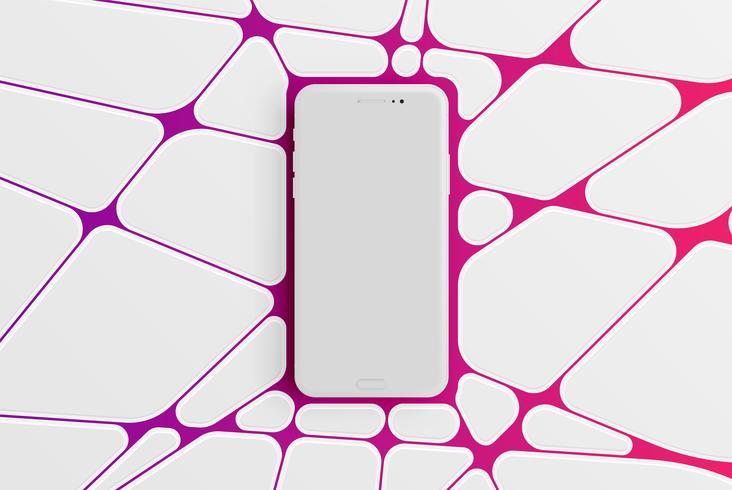 Modelo de smartphone colorido para publicidade, ilustração vetorial