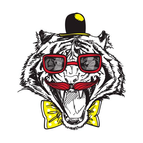 tiger line art vector illustration