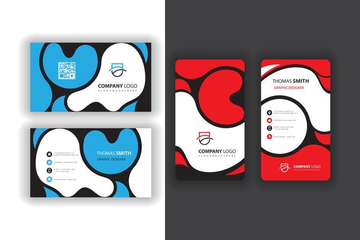 blaue und rote Visitenkarten