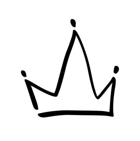 Hand getekend symbool van een gestileerde kroon. Getekend met een zwarte inkt en penseel. Vectorillustratie geïsoleerd op wit. Logo ontwerp. Grunge penseelstreek