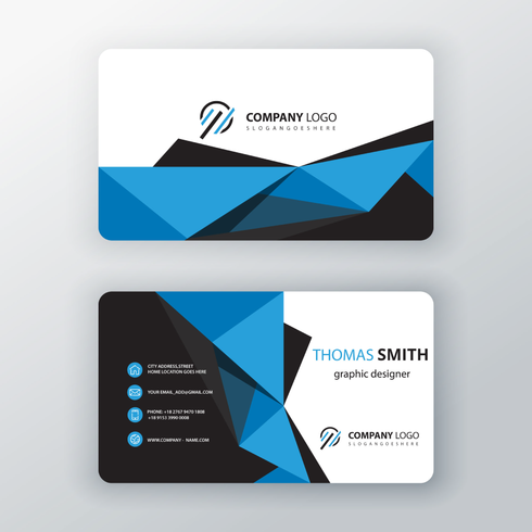 tarjeta de visita editable poligonal azul